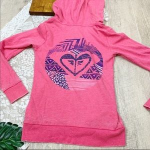 Roxy Pink Zip Hooded Graphic Sweatshirt 1849